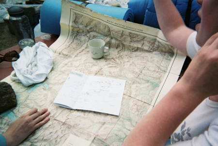 image of students around a map
