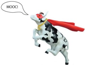 image of flying cow with cape and mask